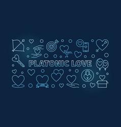 Platonic love blue outline banner on dark vector