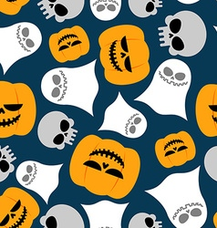 Pumpkin Ghost and skull seamless pattern vector