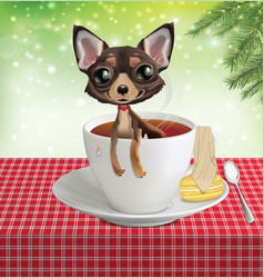 Puppy chihuahua in a cup with tea vector