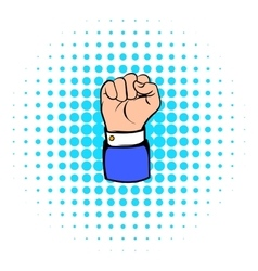 Raised fist hand gesture icon comics style vector
