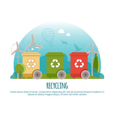 recycle bins waste management and recycle banner vector image