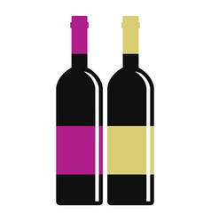Red and white wine bottles icon isolated vector