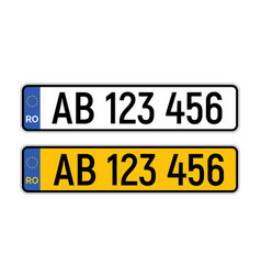 Romania car license plate isolated country drive vector