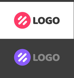 round abstract logotype with lines or violet and vector image