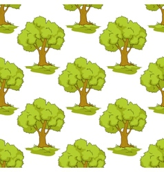 Seamless pattern with cartoon green trees vector image