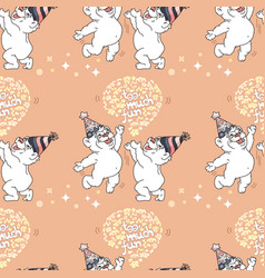 seamless pattern with cute bears on pink vector image