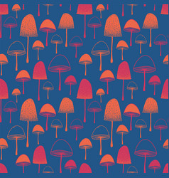 seamless pattern with mushrooms orange and vector image