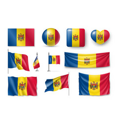 set moldova flags banners banners symbols flat vector image