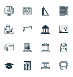 Set of 16 education icons includes distance vector