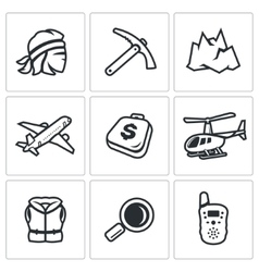 Set of Mountain rescue Icons Man Ice Ax vector image
