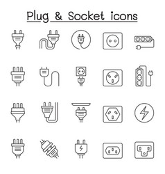 set plug related line icons contains such vector image