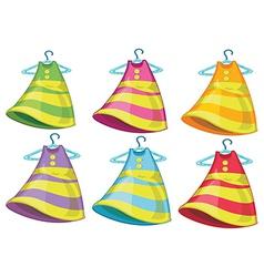 Six colourful dresses vector