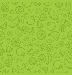 sketch mixed tropical fruits seamless summer vector image