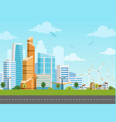 Smart city and suburb panorama vector