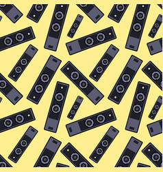 Speaker seamless pattern on yellow background vector