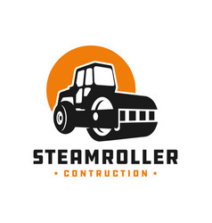 steamroller construction tool logo vector image