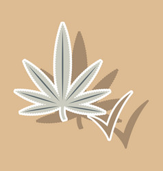 sticker hand drawn color botanical of hemp vector image