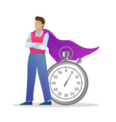 Successful businessman in cloak with stopwatch vector