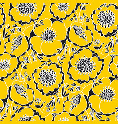 Sunny yellow peony flowers seamless pattern vector
