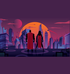 superhero couple in futuristic city vector image