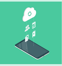 Synchronization of phone with cloud service vector