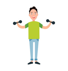 teenager training dumbbells vector image