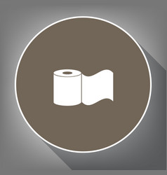 toilet paper sign white icon on brown vector image