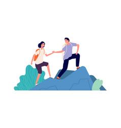 Travellers climb mountain cartoon tourists cute vector