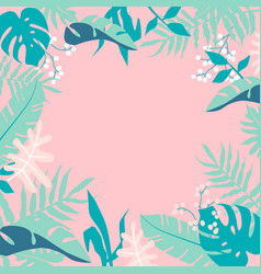 tropical jungle leaves frame on pink background vector image