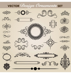 Vector design and swirl ornaments set vector