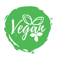Vegan label healthy and organic food font with vector