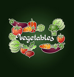 Vegetables isolated on dark background vector