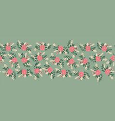 vintage flowers seamless border romantic vector image