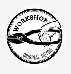 vintage logo with scissors vector image