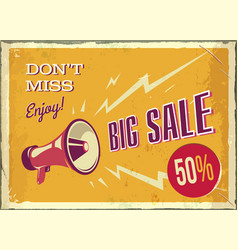 vintage megaphone big sale poster with vector image