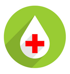 White drop icon first aid sign red cross vector