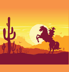 wild west american desert texas prairie vector image