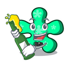 With beer free form mascot cartoon vector