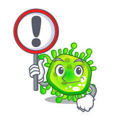 with sign character microbe bacterium on the palm vector image