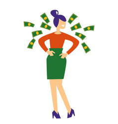 Woman and flying dollar bills money prize or vector