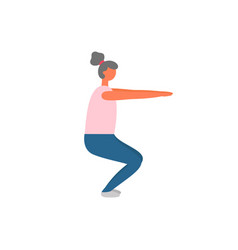 woman doing squats workout and fitness training vector image