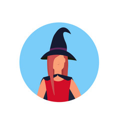 woman wearing magic witch costume face avatar vector image