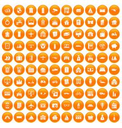 100 property icons set orange vector image vector image