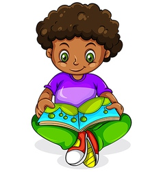 A young Black girl reading vector image vector image