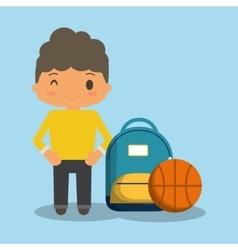 Cartoon boy yellow tshirt bag and ball vector