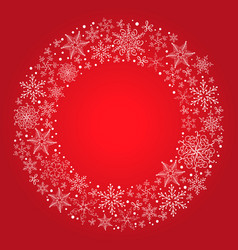 christmas red background with snowflake vector image