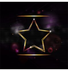 neon gold star border background vector image