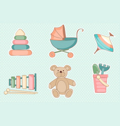 set of childrens toys vector image vector image