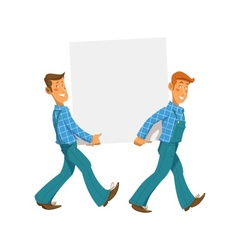 Two mans carry empty plate vector image vector image