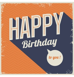 Vintage retro happy birthday card vector image vector image